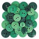 Calica® Knöpfe Mixsets ★ ø 10 - 21 mm ★ 18 Stück (grün Mix)