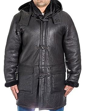 Chaqueta de piel de oveja 100% piel de oveja para hombres con capucha extra'ble