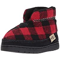 Western Chief Kids Plush Slipper Boot, Buffalo Plaid, 10 M US Toddler