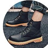Shoes Winter Wolf Herrenschuhe, High-Top-Schuhe, Martin Stiefel, Casual Tooling Stiefel, Outdoor-Schuhe Für Männer, Baumwolle Flut Schuhe,schwarz,40