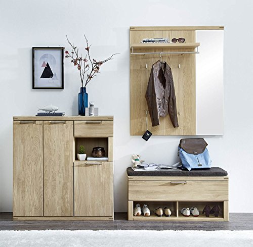 Garderobe, Set, Garderobenschrank, Flurgarderobe, Garderobenmöbel, Dielenmöbel, Flurmöbel, Wandgerderobe, Hochglanz, Sildeiche,Kissen, Soft-Close