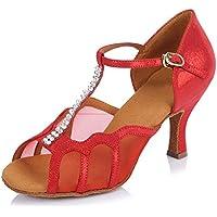 SWDZM Mujer estándar Zapatos de Baile Latinos Satén Strass Ballroom Modelo  ... ebab0cb4dd0