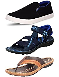 ETHICS Perfect Combo Pack of 3 Casual Footwear for Men's (9 UK, Blue Blue Brown)