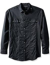 Sean John Men's Big and Tall Long Sleeve Linen Shirt, Pm Black, 4XL