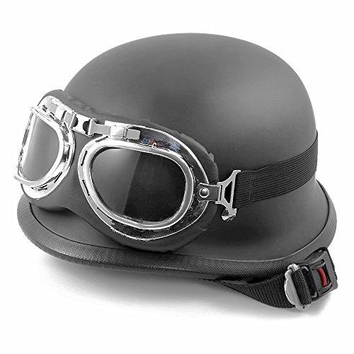 Shsyue®Schwarz Matte/Flat Motorradhelm Halbhelm Chopper Street Biker mit Abnehmbarer Schutzbrille