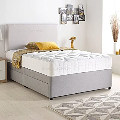 Divan Bed Set with Quilted Ortho Mattress, Headboard and 2 free drawers, Silver Suede - low-cost UK light shop.