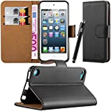VAK® Apple iPod Touch 5th 6th Generation Case Flip Wallet Leather Book Card Slot Case Cover Pouch For Apple iPod Touch 5th 6th Generation With Free Screen Protector & Touch Stylus (Black)