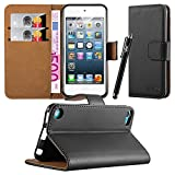 Apple iPod Touch 5th & 6th Generation Case - New Flip Wallet Book [Stand View] Premium Leather Case Cover With Screen Protector and Microfiber Polishing Cloth (Black)