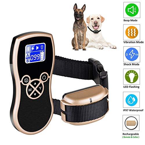 Havenfly Dog Training Collar 2018 Upgraded Collar 1650FT Remote 4 modos de trabajo con seguimiento Light / Beep / Vibration / Sk totalmente impermeable y recargable Sk Collar para Small Medium Large Dogs rose golden