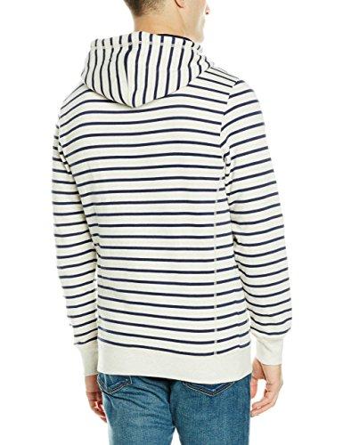 Tom Tailor Striped Hoody, Cappuccio Uomo Grigio (Offwhite Melange 2649)
