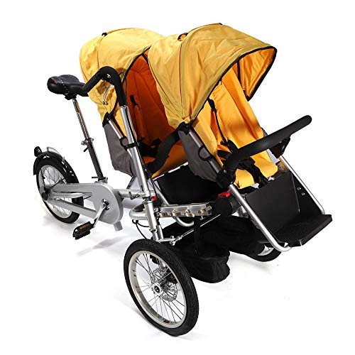 OUKANING Zwillinge Kinderwagen Pushchair Dreiräder Folding Bicycle Kinderwagen (yellow)