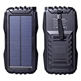 Friengood Solar Charger 25000mAh, Portable Solar Power Bank with Dual USB Port, Outdoor