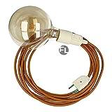 Fassung e27 mit Kabel und Stecker | textilkabel mit fassung und stecker | lampenfassung mit schalter als moderne Hängelampe (3 Meter, whisky)