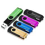 DataOcean 5 Pezzi Pen drive 16GB Chiavetta USB 2.0 girevole per archiviazione dati usb stick(16gb Verde, Nero, Oro, Blu, Rosa)