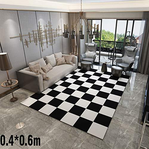 LIYANJIN Teppich,Home Designer Teppich Muster Kurzflorteppich Modern Trend, In verschiedenen Größen und Farben erhältlich,Black,0.4 * 0.6m - Home Trends Geometrischen Teppich