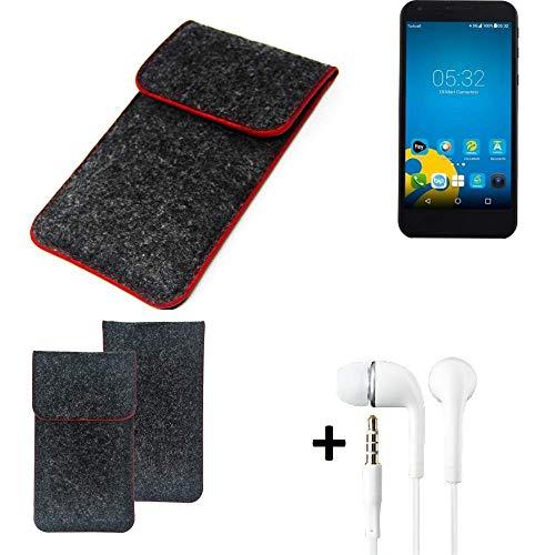 K-S-Trade® Filz Schutz Hülle Für Vestel 5000 Dual-SIM Schutzhülle Filztasche Pouch Tasche Handyhülle Filzhülle Dunkelgrau Roter Rand + Kopfhörer