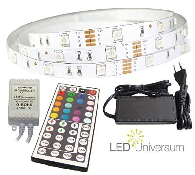 10 Meter RGB LED Streifen Set (30 LED/m, IP20) inkl. Controller, 44 Tasten Fernbedienung und 6 A Netzteil von sonstige auf Lampenhans.de