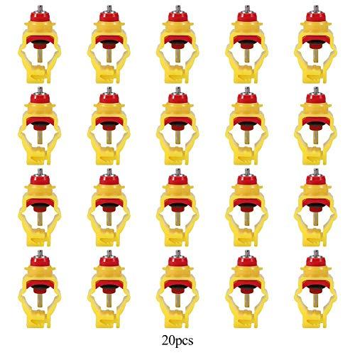 HEEPDD 20PCS Automatic Chicken Waterer Feeder Capezzolo Distributore di Bevande Pollame Abbeveratoi per Anatre Hen Turkeys Oche Quaglia (per Tubo da 20 mm)