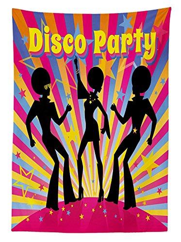 Yeuss 70er Party Tischdecke Outdoor, Dancing People Silhouetten Afro Haar-Disco Funky Display Print, Dekorative waschbar Picnic Tischdecke, Multicolor 60