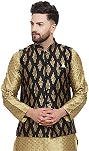 NEUDIS by Dhrohar Jacquard Silk Blend Nehru Jacket/Waistcoat For Men - Black