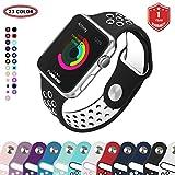 Bracelet Apple Watch,FunBand® 42mm Apple Watch en Sport de Doux Silicone Souple Strap Wrist Band Replacement avec des Trous Respirants pour Nike + Style Apple Watch Serie 3,Serie 2,Serie 1 (Noir-Blanc)