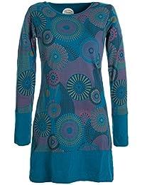 Vishes - Alternative Bekleidung - Langärmliges Lagenlook Kleid mit Mandala Druck