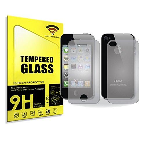 ACTECOM Protector DE Pantalla 9H 2.5D para iPhone 4 4S Doble Delantero Y Trasero...