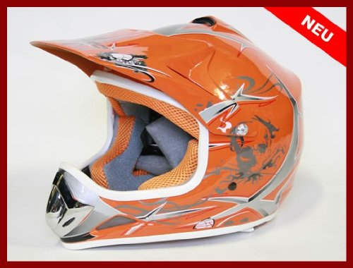 Helm Kinderhelm Motorradhelm Crosshelm Motocrosshelm Sport Orange M