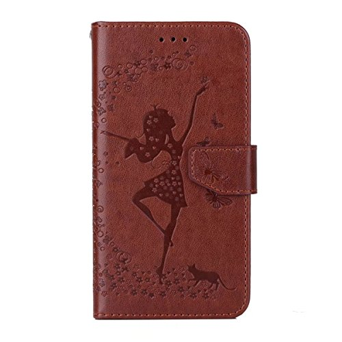 Abnehmbare 2 in 1 Crazy Horse Texture PU Ledertasche, Fairy Girl Embossed Pattern Flip Stand Case Tasche mit Lanyard & Card Cash Slots für Samsung Galaxy A5 2017 ( Color : Rosegold ) Brown