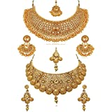 #5: Reeva Combo Necklace and Earring Traditional Wedding and Party Wear Jewellery Set for Women/Girls (Pearl)