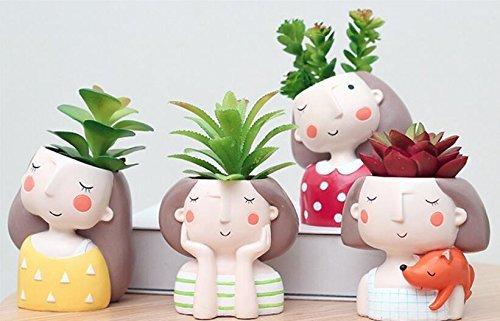 BIEE 4 Stück Netter Mädchen Blumentopf Harz Sukkulenten Pflanzer Schreibtisch Mini Ornament -