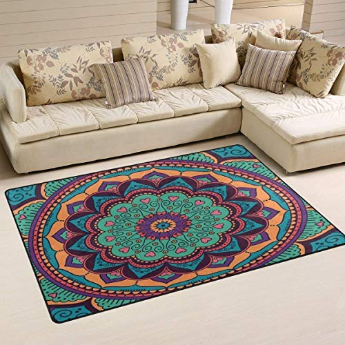 "werert Green and Orange Mandala Doormat Floor Mat Alfombra Indoor/Outdoor/Front Door/Bathroom Mats 23.6""(L) x 15.7""(W) Non Slip"