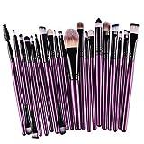 Hosaire 15 Piezas Maquillaje Profesional de Los Cepillos Kit de Sombra de ojos Cepillo de Base Cejas Cepillos del Maquillaje Forma del Cepillo de Dientes Púrpura + Negro