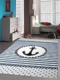 Carpetia Teppich Kinderzimmer Babyzimmer Jungen Anker Maritim Blau Crème Schwarz Größe 120x170 cm