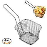 4pcs Mini Chip Baskets Kitchen Stainless steel Fryer Serving Food Presentation Basket