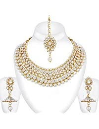 Spargz Gold Plated AD Stone Kundan Pearl Necklace Earring Indian Bollywood Bridal Jewelry Set For Women AINS_257