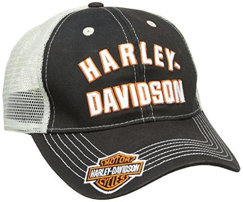 Berretto Harley Davidson nero e logo ricamato bianco/arancione, maglia