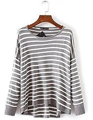 Señoras nuevo gris raya suelto de manga larga camisa de punto