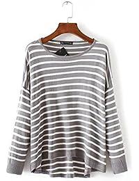 Ladies Nueva gris rayas Loose manga larga punto Camisa