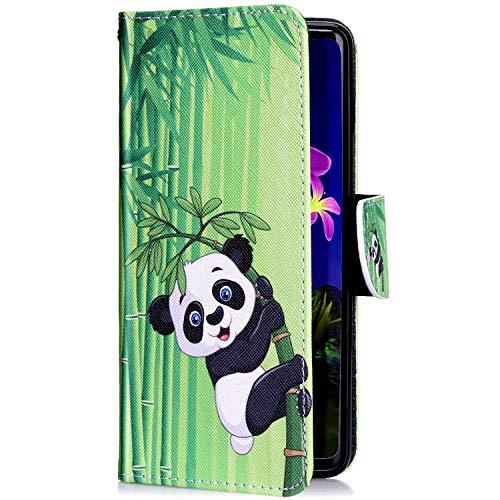 Uposao Kompatibel mit iPhone 11 Pro Handyhülle Leder Tasche Lederhülle Retro Bunt 3D Muster Schutzhülle Bookstyle Flip Case Wallet Cover Ständer Kartenfach Klapphülle,Cool Panda