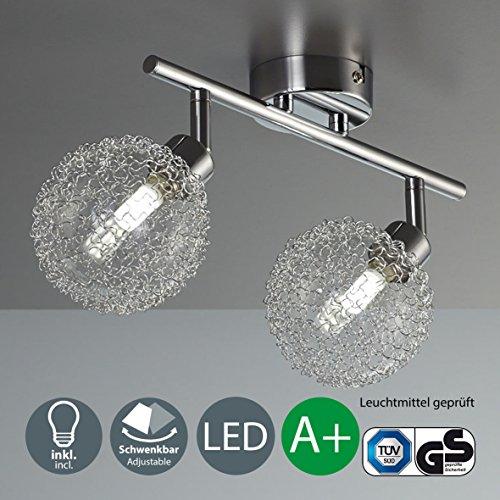 Lámpara de techo con 2 bolas de cristal I Foco LED I Incluye 2 bombil