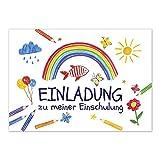 12 Einladungskarten Einschulung mit Umschlag/Gemalte Elemente bunt/Einladung 1. Schultag in der Schule/2-seitige Karte