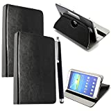 """Colourful Stuff 10inch Tablet Case Cover - Universal Leather Stand Case Folio Cover Magic Leather 360� Rotating Case Fits for ALL 10"""" Inch & 10.1"""" Inch Android Tablets tab + Free Stylus Touch Pen (BLACK CASE COVER)"""