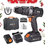 Cordless Drill Set TACKLIFE with Hammer,2pcs 2000mAh Li-Ion Batteries,13mm Chuck Max Torque 35N.m,2