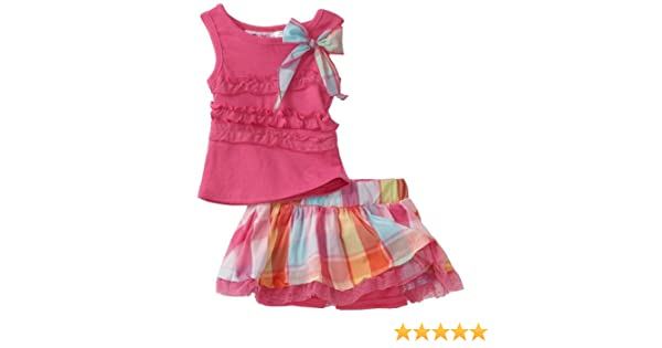 Young Hearts Baby Girls Ruffle and Plaid Knit Top With Matching Skooker Skirt Set