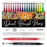 int!rend Dual Brush Pens, 36 Farben, Fasermaler - 1-5 mm, Fineliner - 0,4 mm, Kalligraphie Pinselstifte, Watercolor, Hand-Lettering, Bullet Journal Stifte, Aquarell, Zeichnen, Malen