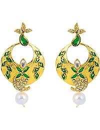 Touchstone Alloy Traditional Indian Rhinestone Jaipur Meenakari Moon Designer Jewelry Earrings In Antique Gold...