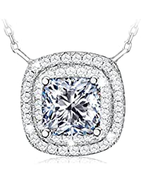 608a15e0548dd Atmoko Collier Femme Pendentif Plaqué Platine en Argent 925, Zircon Cubique  de AAA, Cadeaux