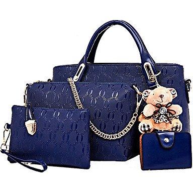La moda casual donna borsa multifunzionale PU Borsetta Borsetta Borsa Donna Shopping collezione di quattro caricato,Beige Blue