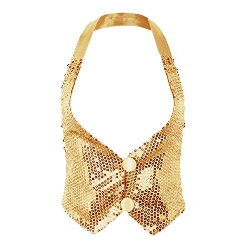 Tiaobug Damen Pailetten Weste Waistcoat Hip Hop Tanz Jazz Neckholder Top ärmellos Cami Tank Oberteile glänzend Kostüm Clubwear Gold One_Size